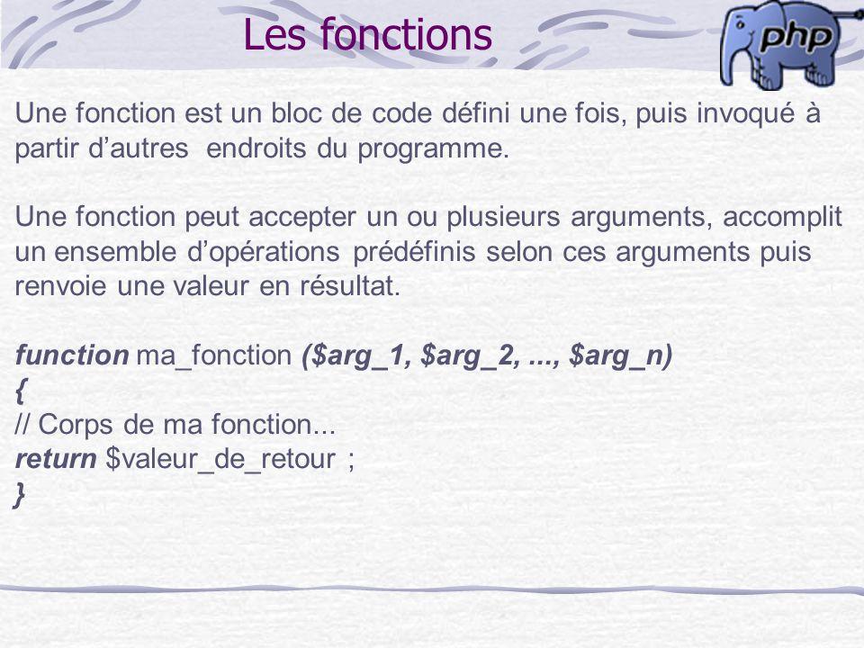 Les fonctions Une fonction est un bloc de code défini une fois, puis invoqué à partir dautres endroits du programme. Une fonction peut accepter un ou
