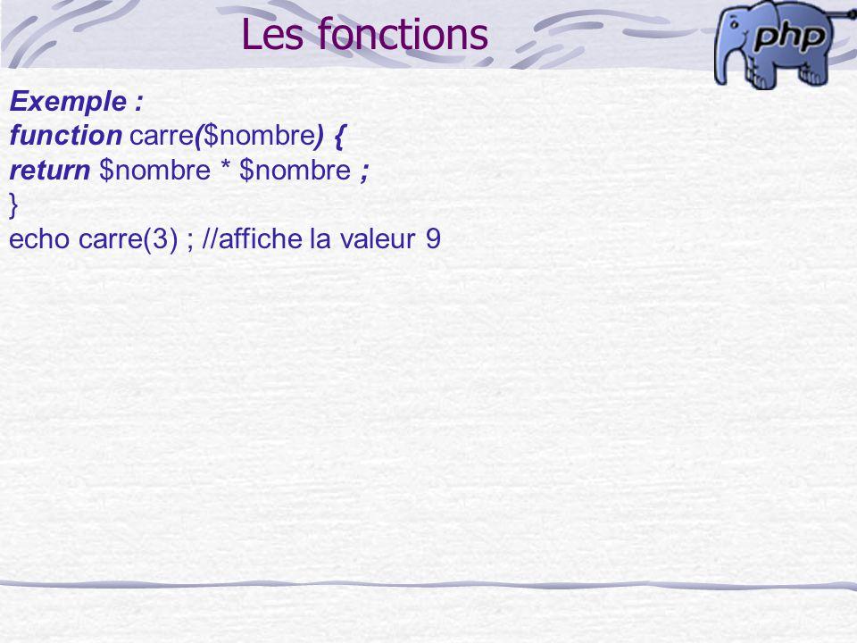 Les fonctions Exemple : function carre($nombre) { return $nombre * $nombre ; } echo carre(3) ; //affiche la valeur 9