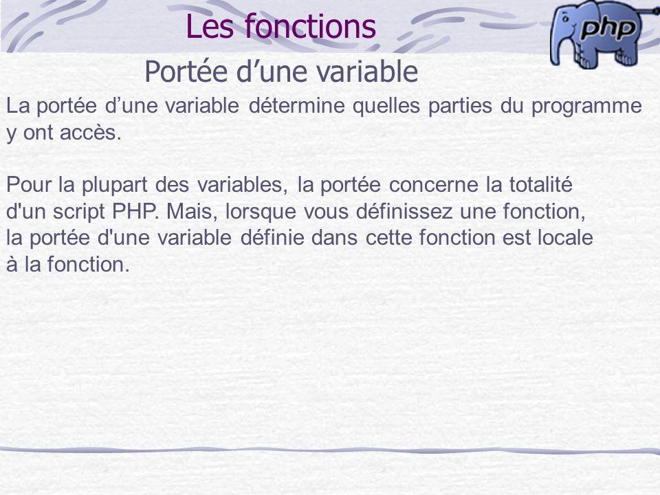Les fonctions Portée dune variable La portée dune variable détermine quelles parties du programme y ont accès. Pour la plupart des variables, la porté