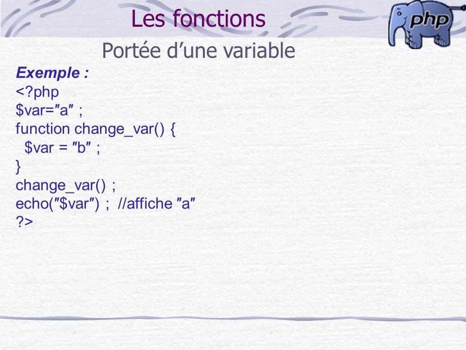 Les fonctions Portée dune variable Exemple : <?php $var=a ; function change_var() { $var = b ; } change_var() ; echo($var) ; //affiche a ?>