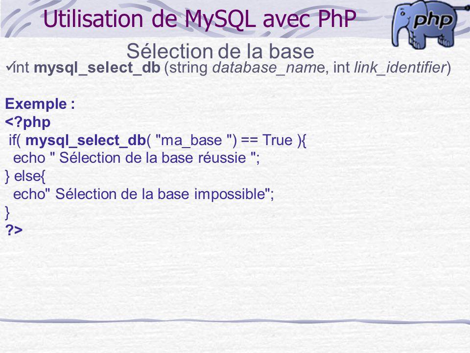 Utilisation de MySQL avec PhP Sélection de la base int mysql_select_db (string database_name, int link_identifier) Exemple : <?php if( mysql_select_db