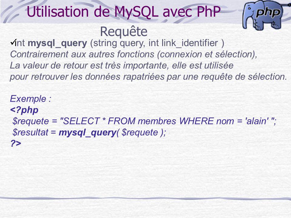 Utilisation de MySQL avec PhP Requête int mysql_query (string query, int link_identifier ) Contrairement aux autres fonctions (connexion et sélection)