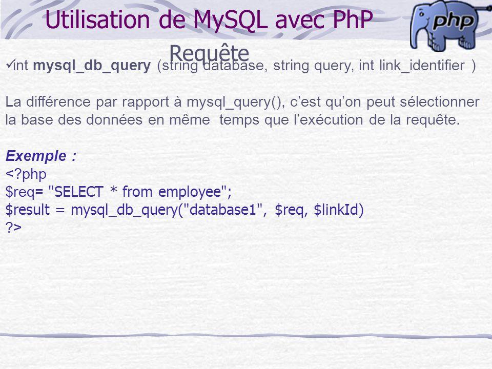 Utilisation de MySQL avec PhP Requête int mysql_db_query (string database, string query, int link_identifier ) La différence par rapport à mysql_query