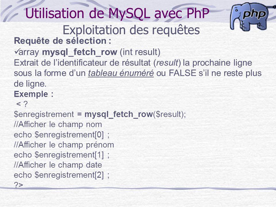 Utilisation de MySQL avec PhP Exploitation des requêtes Requête de sélection : array mysql_fetch_row (int result) Extrait de lidentificateur de résult