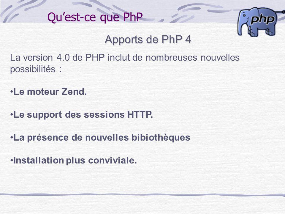 Quest-ce que PhP Apports de PhP 4 La version 4.0 de PHP inclut de nombreuses nouvelles possibilités : Le moteur Zend. Le support des sessions HTTP. La