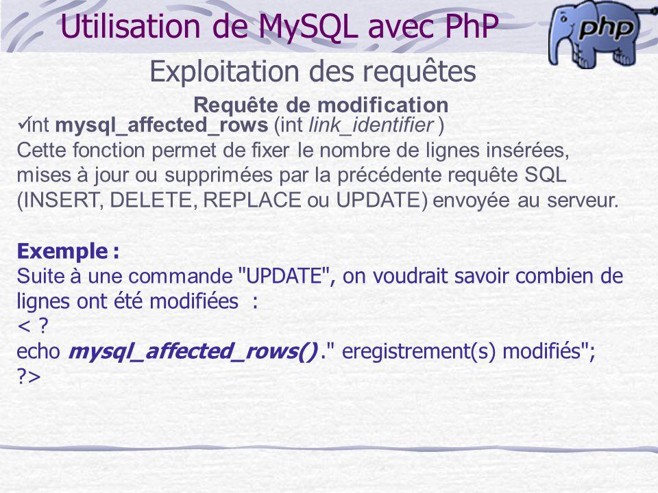 Requête de modification Utilisation de MySQL avec PhP Exploitation des requêtes int mysql_affected_rows (int link_identifier ) Cette fonction permet d