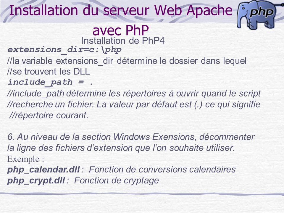 Installation du serveur Web Apache avec PhP Installation de PhP4 extensions_dir=c:\php //la variable extensions_dir détermine le dossier dans lequel /