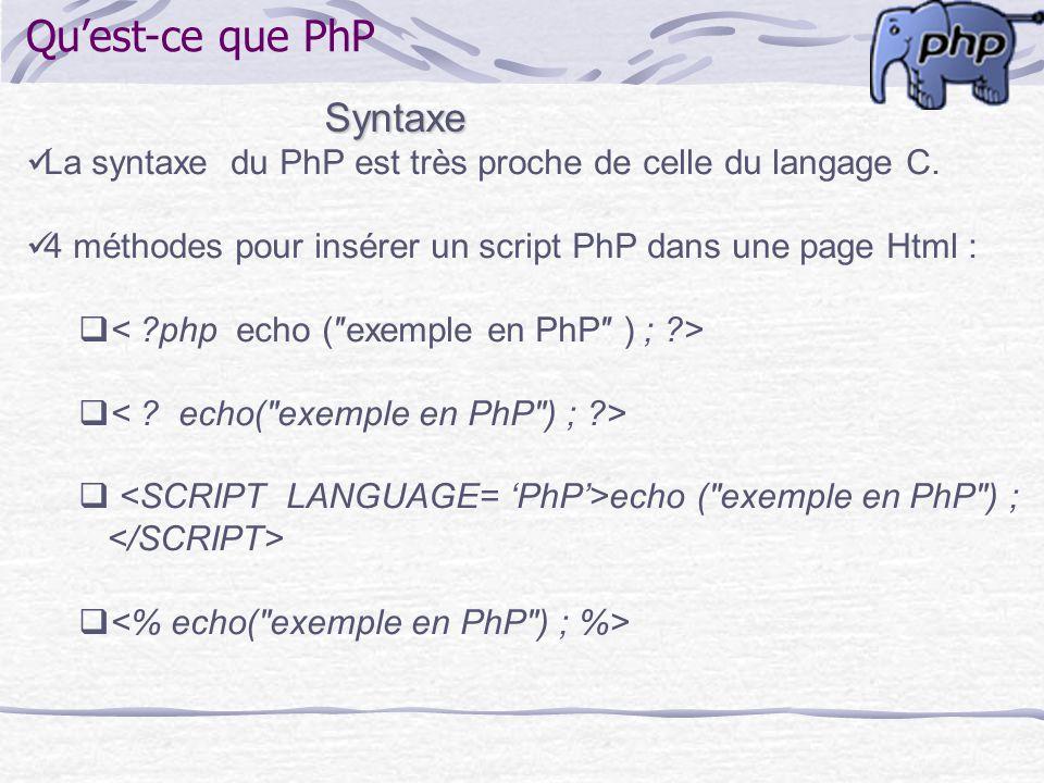 Quest-ce que PhP Syntaxe La syntaxe du PhP est très proche de celle du langage C. 4 méthodes pour insérer un script PhP dans une page Html : echo (exe