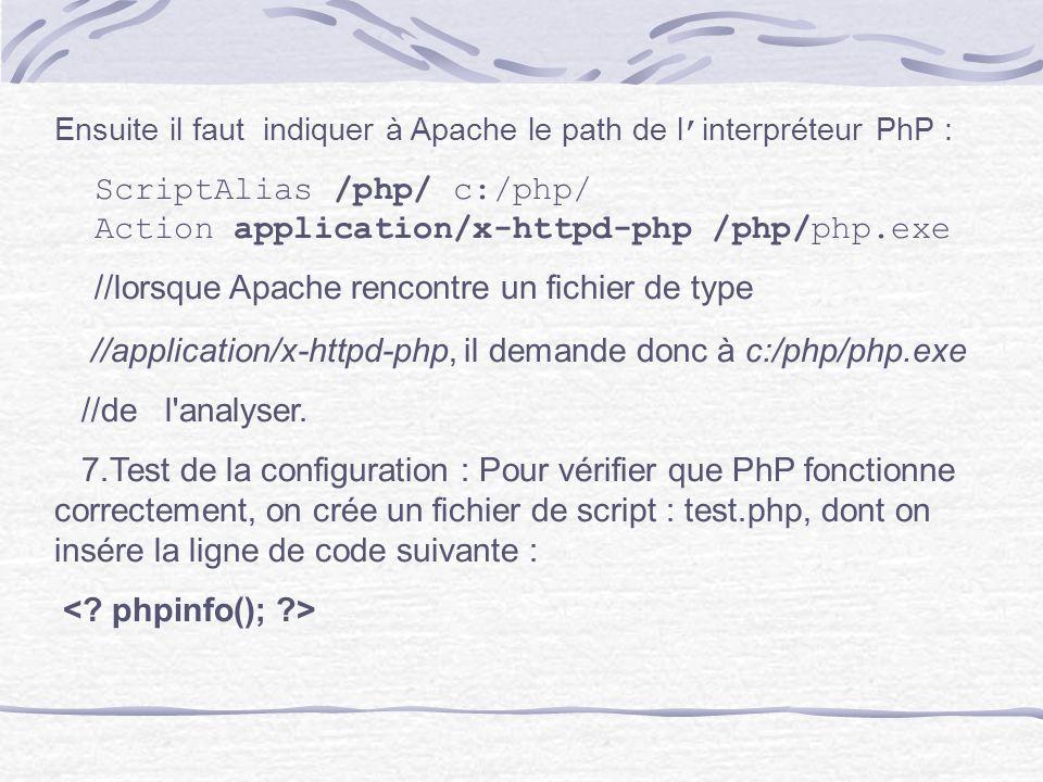 Ensuite il faut indiquer à Apache le path de l interpréteur PhP : ScriptAlias /php/ c:/php/ Action application/x-httpd-php /php/php.exe //lorsque Apac
