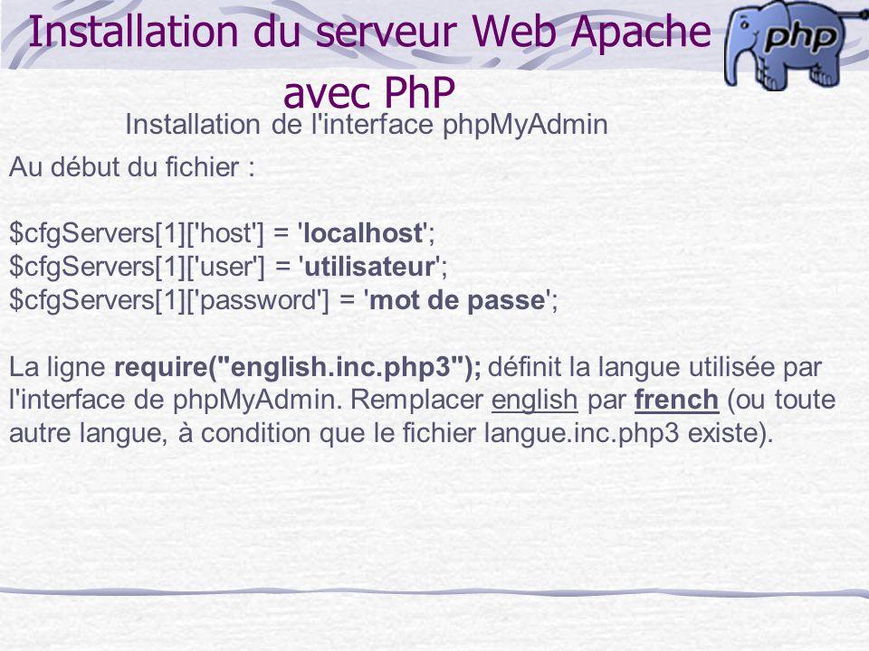 Installation du serveur Web Apache avec PhP Installation de l'interface phpMyAdmin Au début du fichier : $cfgServers[1]['host'] = 'localhost'; $cfgSer