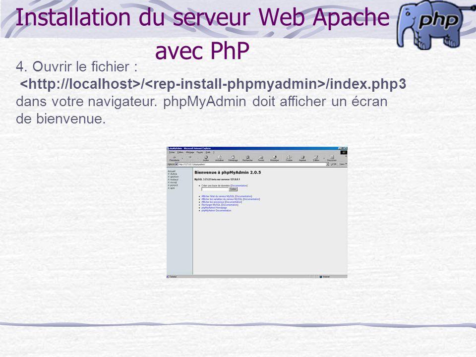 4. Ouvrir le fichier : / /index.php3 dans votre navigateur. phpMyAdmin doit afficher un écran de bienvenue. Installation du serveur Web Apache avec Ph