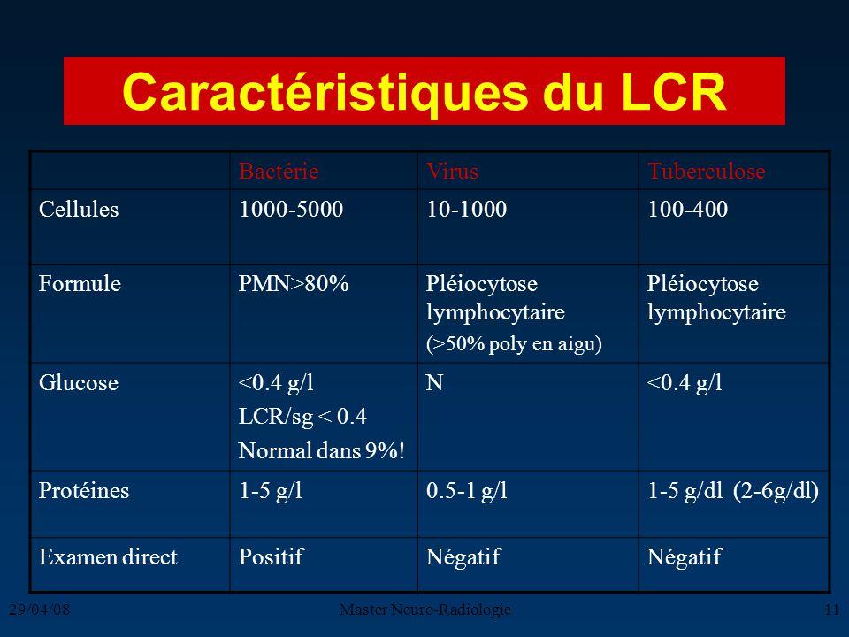 29/04/08Master Neuro-Radiologie11 Caractéristiques du LCR BactérieVirusTuberculose Cellules1000-500010-1000100-400 FormulePMN>80%Pléiocytose lymphocyt
