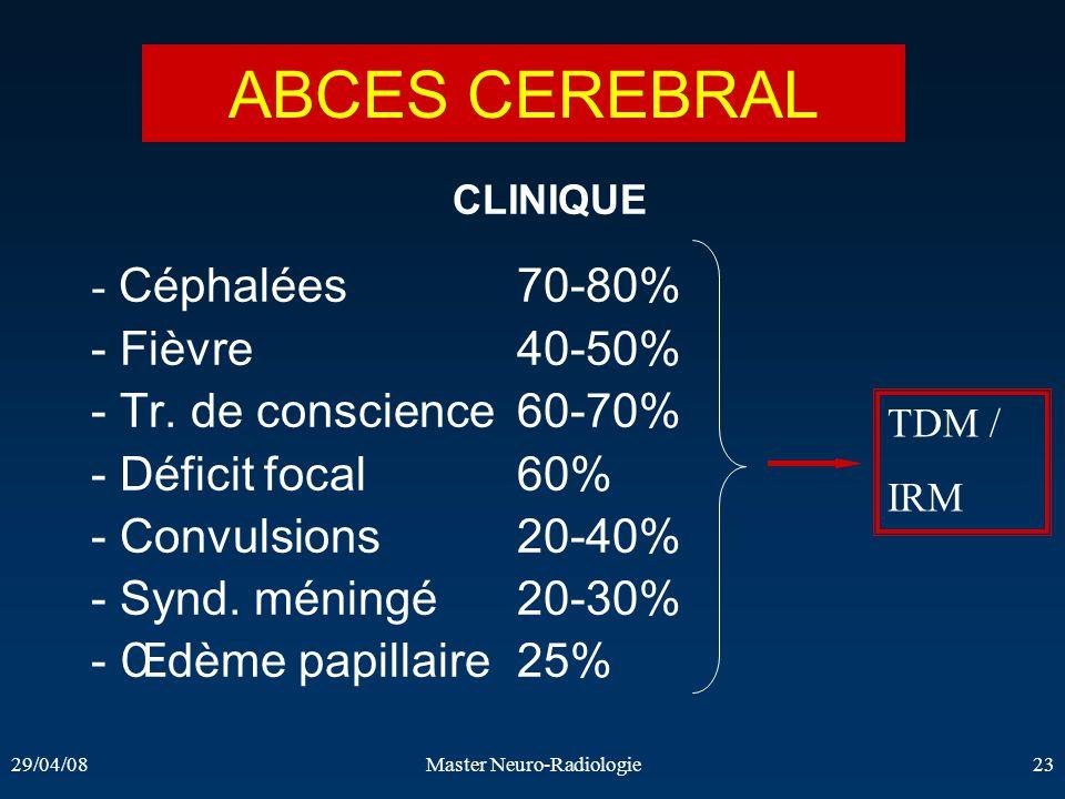 29/04/08Master Neuro-Radiologie23 CLINIQUE - Céphalées 70-80% - Fièvre 40-50% - Tr. de conscience 60-70% - Déficit focal 60% - Convulsions 20-40% - Sy