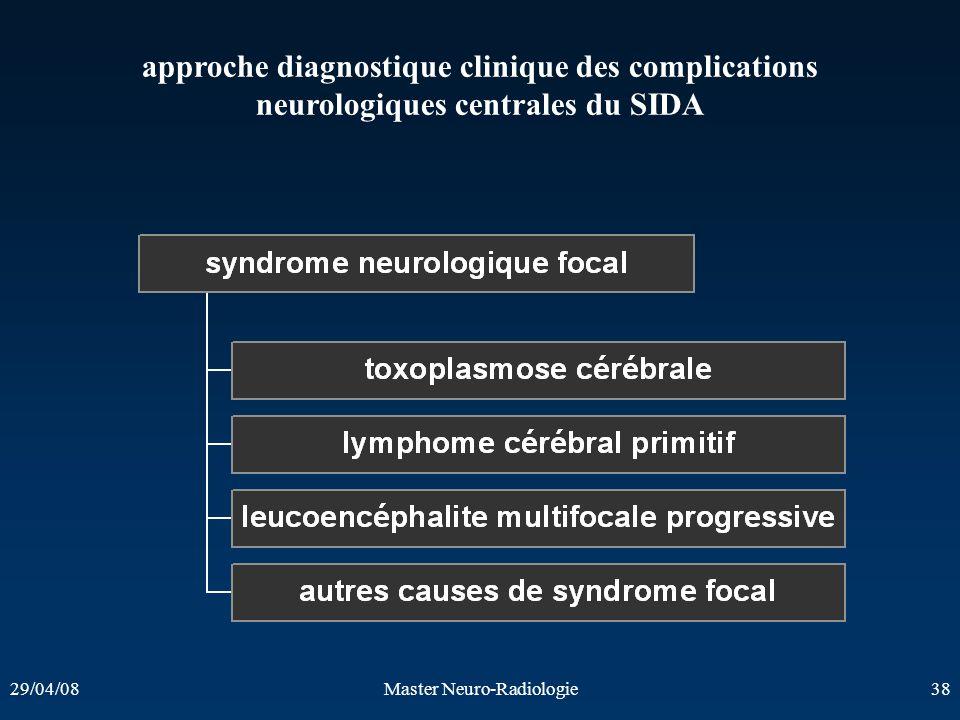 29/04/08Master Neuro-Radiologie38 approche diagnostique clinique des complications neurologiques centrales du SIDA