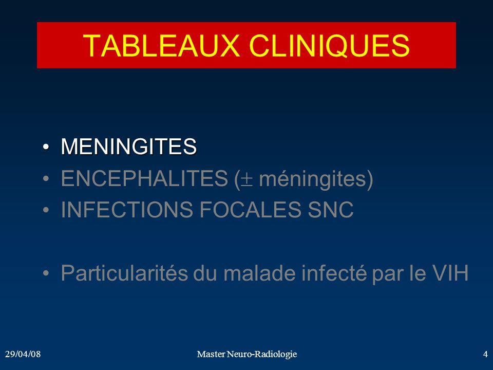 29/04/08Master Neuro-Radiologie4 TABLEAUX CLINIQUES MENINGITESMENINGITES ENCEPHALITES ( méningites) INFECTIONS FOCALES SNC Particularités du malade in