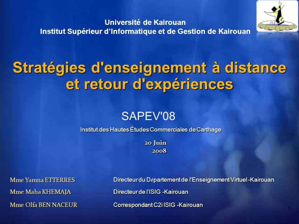 32 Conclusion Collaboration entre les différents acteurs Collaboration entre les différents acteurs LUniversité Virtuelle de Tunis (UVT) LAssociation de Promotion de la Recherche et de lEnseignement Virtuel (APREV) LUniversité de Kairouan (UK) LInstitut Supérieur dInformatique et de Gestion de Kairouan (ISIG-K) Allouer les ressources nécessaires: salles daccès, encadrement et suivi,...