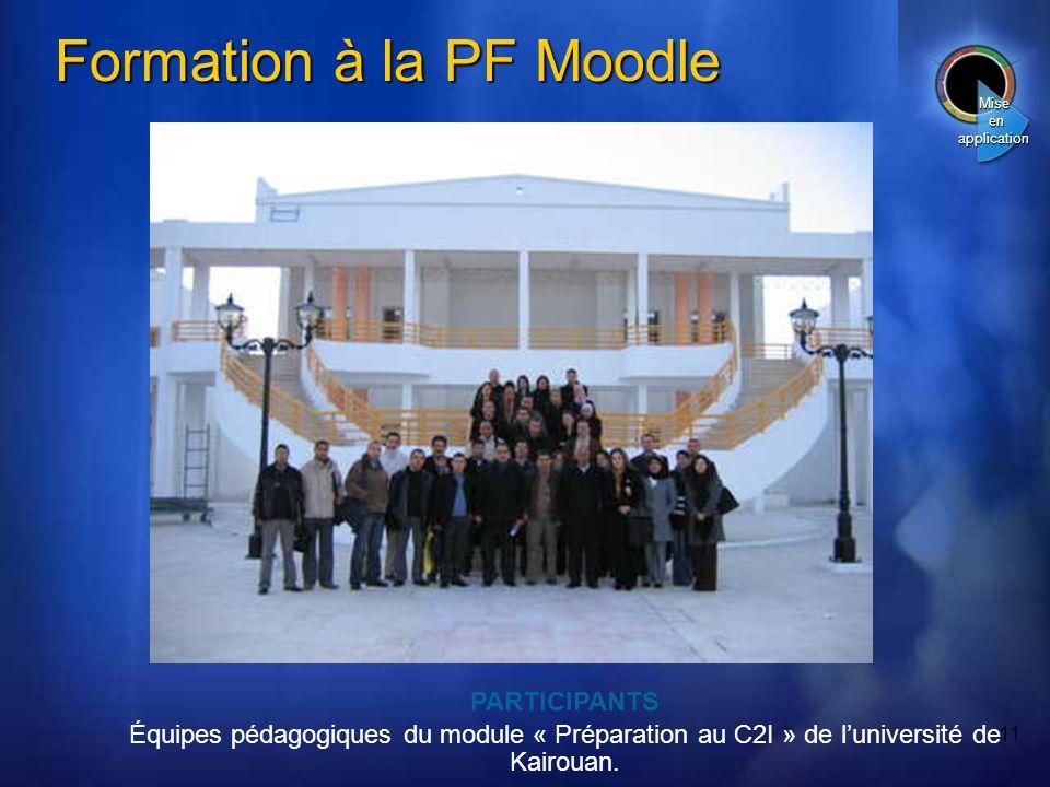 11 Formation à la PF Moodle PARTICIPANTS Équipes pédagogiques du module « Préparation au C2I » de luniversité de Kairouan.