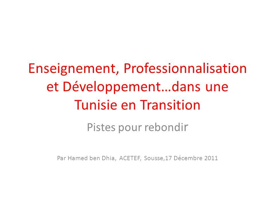 Enseignement, Professionnalisation et Développement…dans une Tunisie en Transition Pistes pour rebondi r Par Hamed ben Dhia, ACETEF, Sousse,17 Décembr