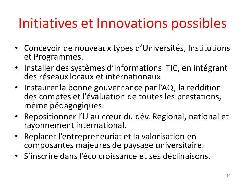 Initiatives et Innovations possibles Concevoir de nouveaux types dUniversités, Institutions et Programmes. Installer des systèmes dinformations TIC, e