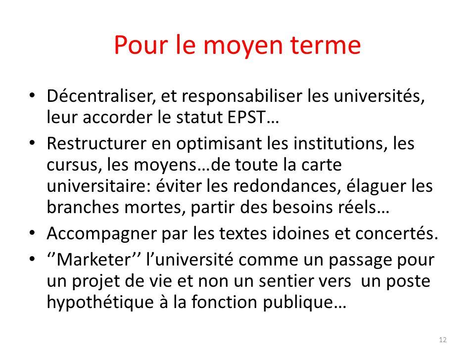 Pour le moyen terme Décentraliser, et responsabiliser les universités, leur accorder le statut EPST… Restructurer en optimisant les institutions, les