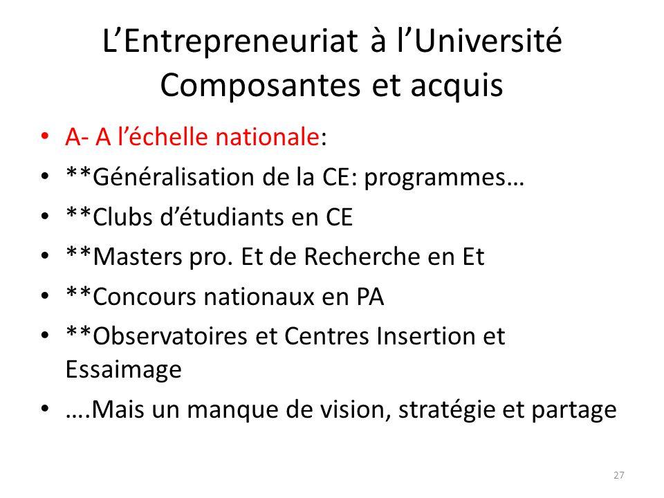 LEntrepreneuriat à lUniversité Composantes et acquis A- A léchelle nationale: **Généralisation de la CE: programmes… **Clubs détudiants en CE **Master