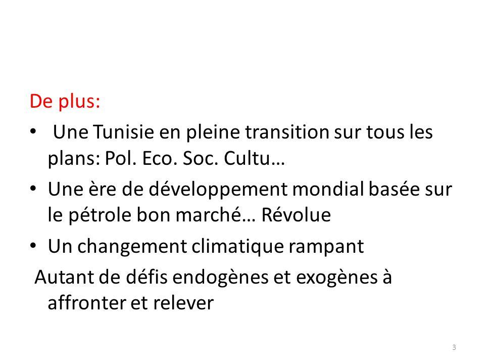 De plus: Une Tunisie en pleine transition sur tous les plans: Pol. Eco. Soc. Cultu… Une ère de développement mondial basée sur le pétrole bon marché…