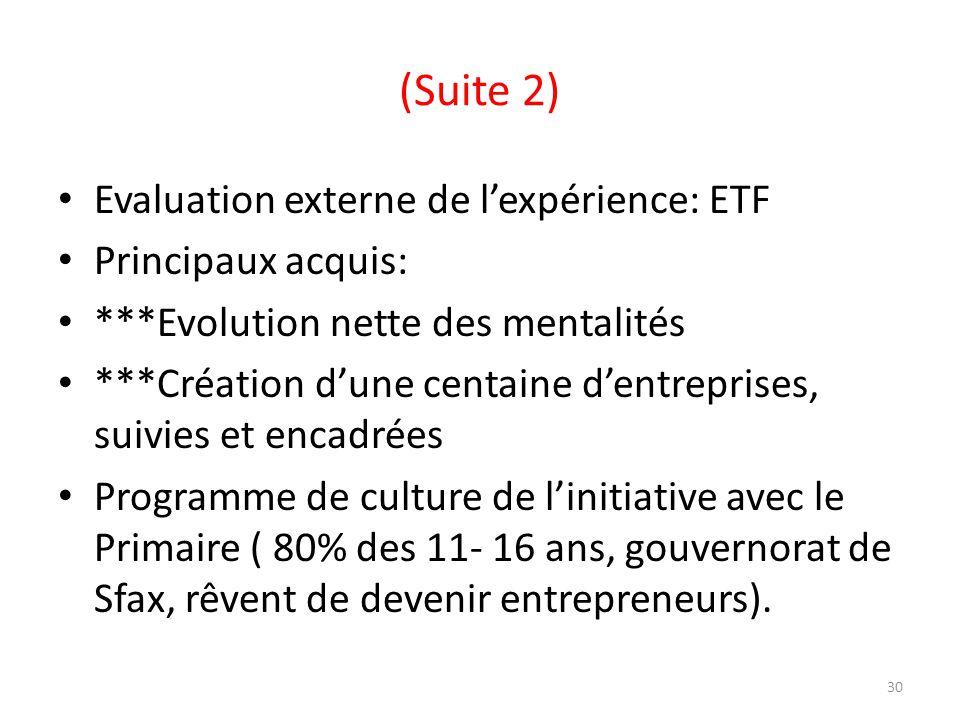 (Suite 2) Evaluation externe de lexpérience: ETF Principaux acquis: ***Evolution nette des mentalités ***Création dune centaine dentreprises, suivies