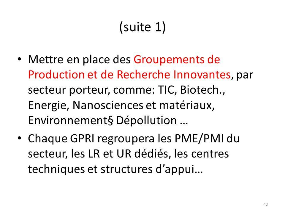 (suite 1) Mettre en place des Groupements de Production et de Recherche Innovantes, par secteur porteur, comme: TIC, Biotech., Energie, Nanosciences e
