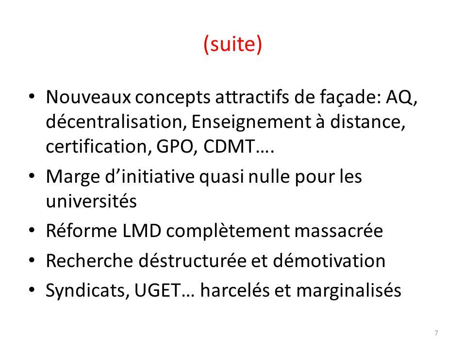 (suite) Nouveaux concepts attractifs de façade: AQ, décentralisation, Enseignement à distance, certification, GPO, CDMT…. Marge dinitiative quasi null