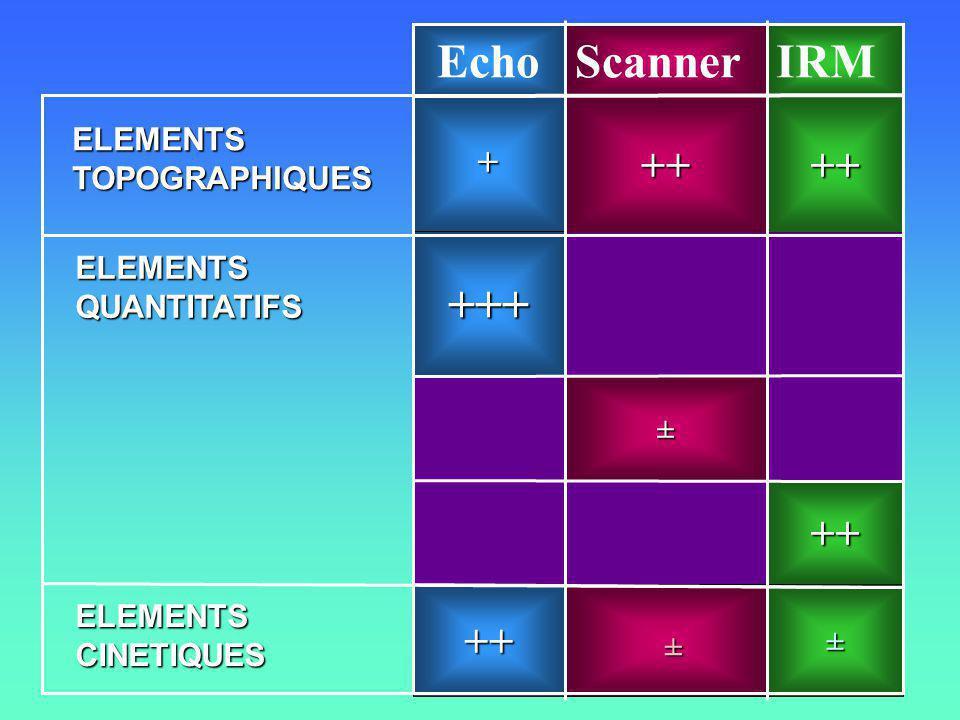 ++ + ++++ IRMScannerEcho ± +++ ++ ± ± ELEMENTSTOPOGRAPHIQUES ELEMENTSQUANTITATIFS ELEMENTSCINETIQUES