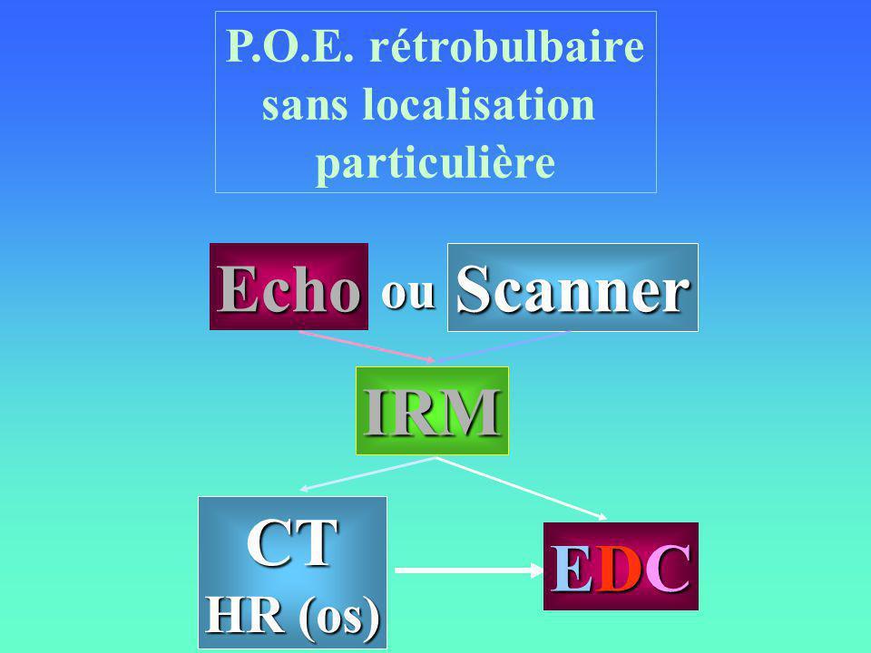 P.O.E. rétrobulbaire sans localisation particulière CT HR (os) IRM Echo Scanner EDCEDCEDCEDC ou