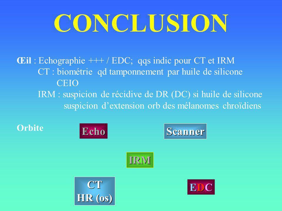 CONCLUSION Œil : Echographie +++ / EDC; qqs indic pour CT et IRM CT : biométrie qd tamponnement par huile de silicone CEIO IRM : suspicion de récidive