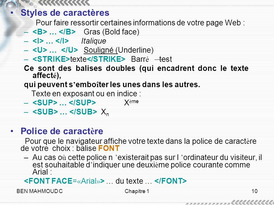 BEN MAHMOUD CChapitre 110 Styles de caractères Pour faire ressortir certaines informations de votre page Web : – … Gras (Bold face) – … Italique – … S