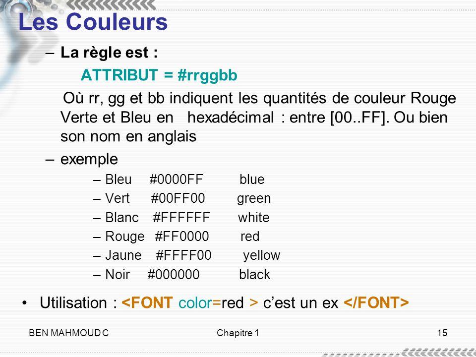 BEN MAHMOUD CChapitre 115 Les Couleurs –La règle est : ATTRIBUT = #rrggbb Où rr, gg et bb indiquent les quantités de couleur Rouge Verte et Bleu en he