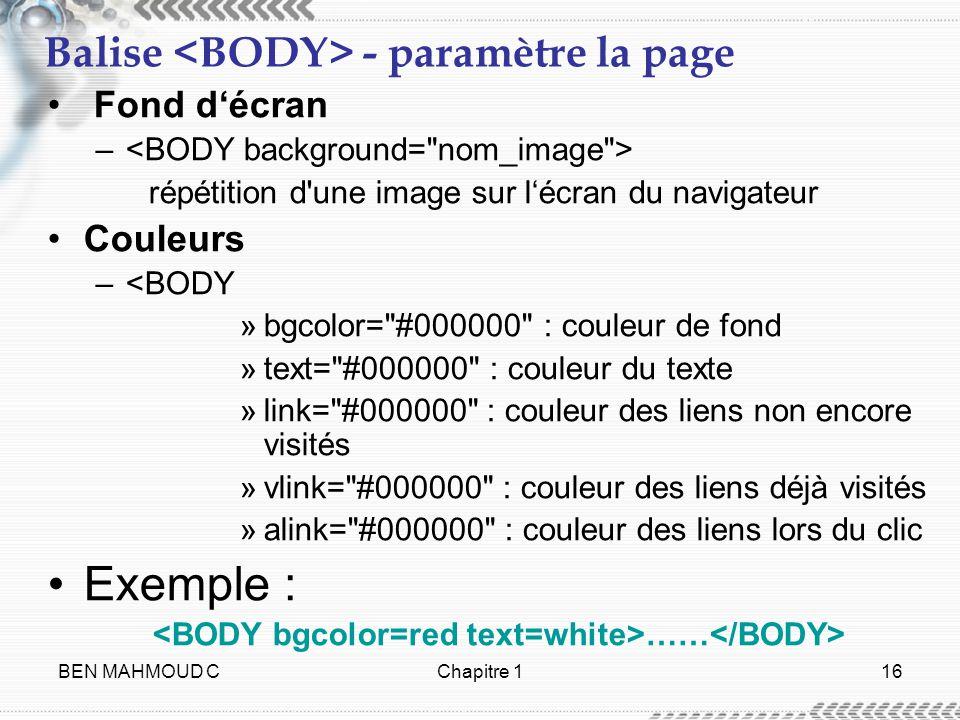BEN MAHMOUD CChapitre 116 Balise - paramètre la page Fond décran – répétition d'une image sur lécran du navigateur Couleurs –<BODY »bgcolor=