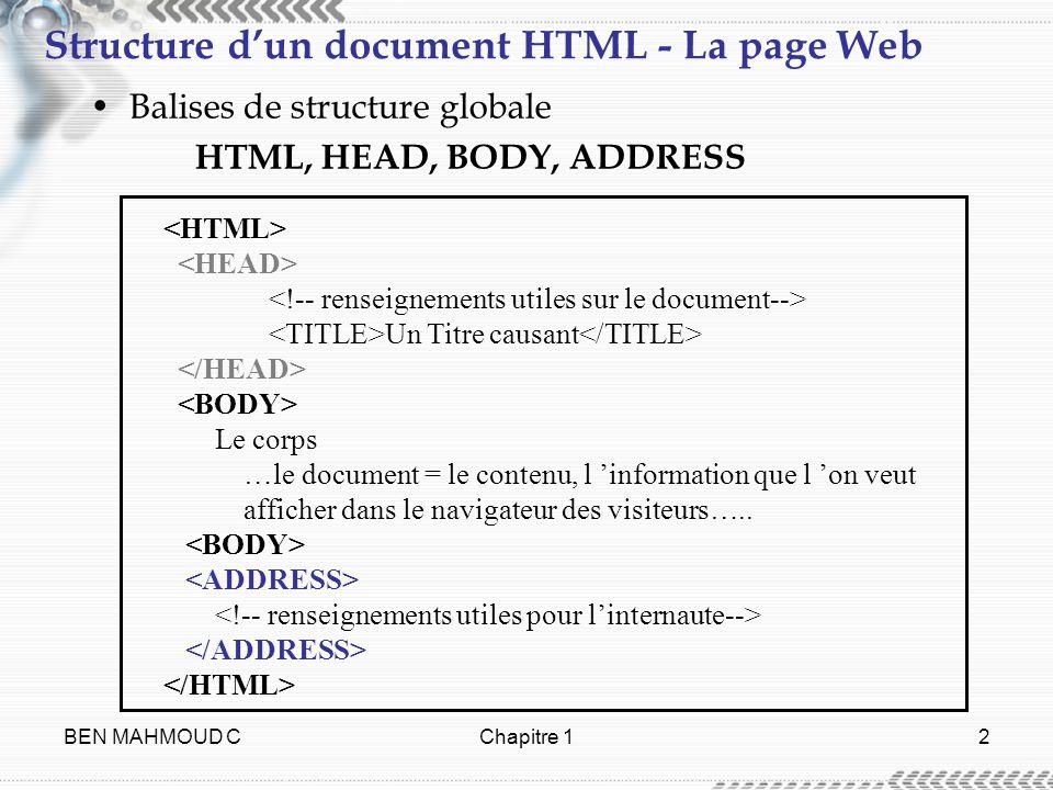 BEN MAHMOUD CChapitre 12 Structure dun document HTML - La page Web Balises de structure globale HTML, HEAD, BODY, ADDRESS Un Titre causant Le corps …l