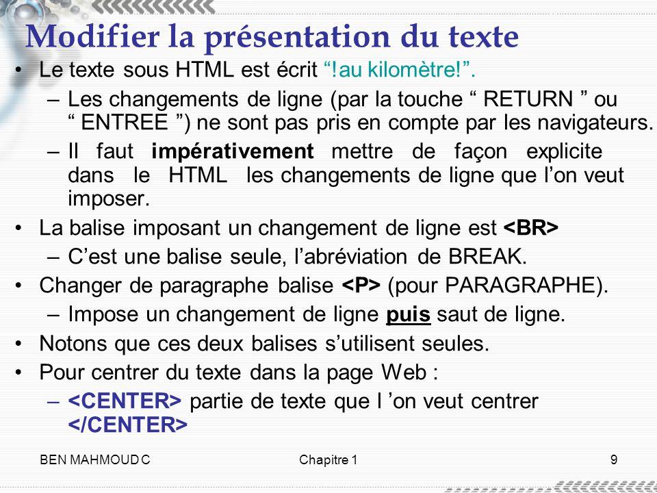 BEN MAHMOUD CChapitre 19 Modifier la présentation du texte Le texte sous HTML est écrit !au kilomètre!. –Les changements de ligne (par la touche RETUR