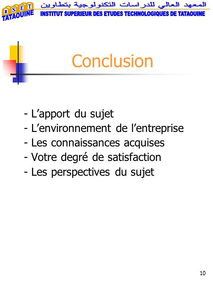 10 - Lapport du sujet - Lenvironnement de lentreprise - Les connaissances acquises - Votre degré de satisfaction - Les perspectives du sujet Conclusion