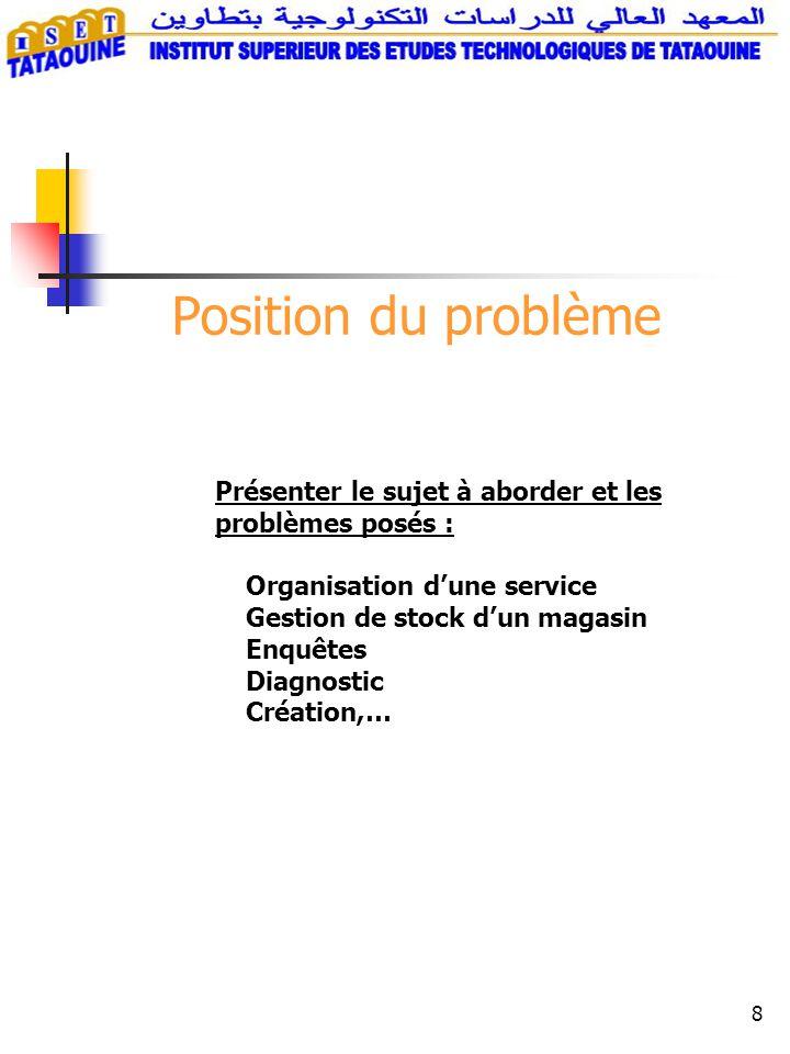 8 Position du problème Présenter le sujet à aborder et les problèmes posés : Organisation dune service Gestion de stock dun magasin Enquêtes Diagnostic Création,…