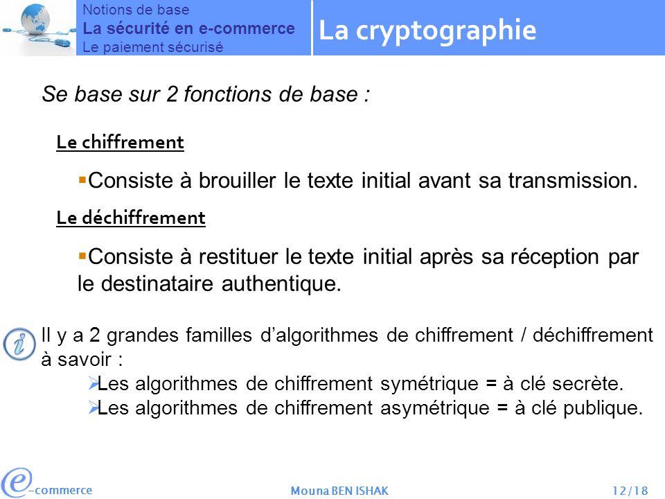 -commerce Mouna BEN ISHAK12/18 Se base sur 2 fonctions de base : Le chiffrement Le déchiffrement Consiste à brouiller le texte initial avant sa transmission.