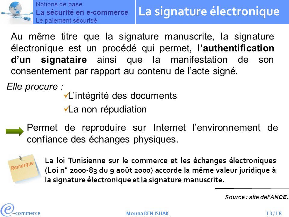 -commerce Mouna BEN ISHAK13/18 La signature électronique Notions de base La sécurité en e-commerce Le paiement sécurisé Au même titre que la signature