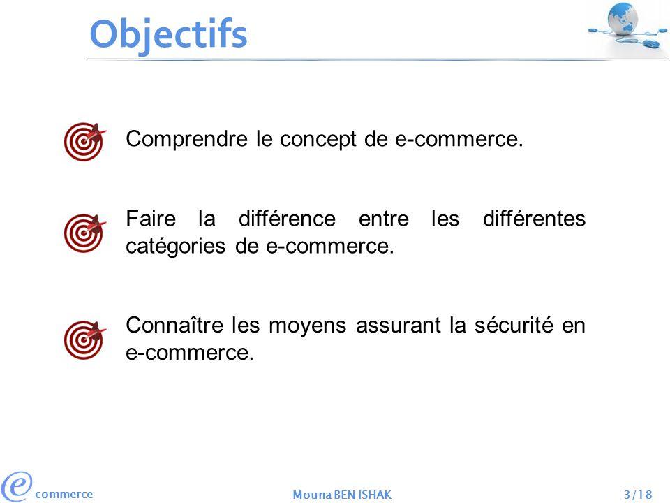 -commerce Mouna BEN ISHAK3/18 Objectifs Comprendre le concept de e-commerce. Faire la différence entre les différentes catégories de e-commerce. Conna