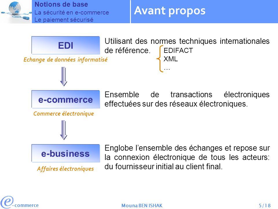 -commerce Mouna BEN ISHAK5/18 Avant propos Notions de base La sécurité en e-commerce Le paiement sécurisé EDI e-commerce e-business Affaires électroniques Commerce électronique Echange de données informatisé Utilisant des normes techniques internationales de référence.
