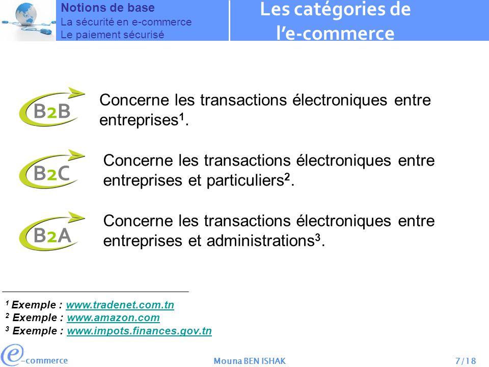 -commerce Mouna BEN ISHAK8/18 Les catégories de le-commerce Notions de base La sécurité en e-commerce Le paiement sécurisé La différence entre le B2B et le B2C B2BB2C Transactions complexesConviviales Négociation Marchandage et négociation entre les parties.