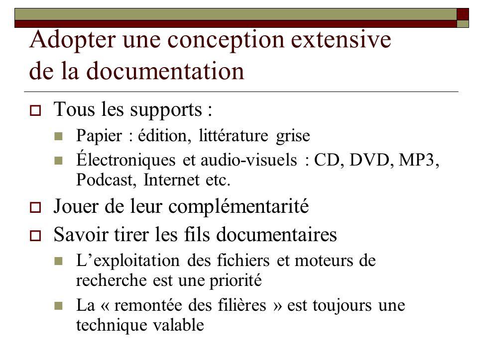 Adopter une conception extensive de la documentation Tous les supports : Papier : édition, littérature grise Électroniques et audio-visuels : CD, DVD,