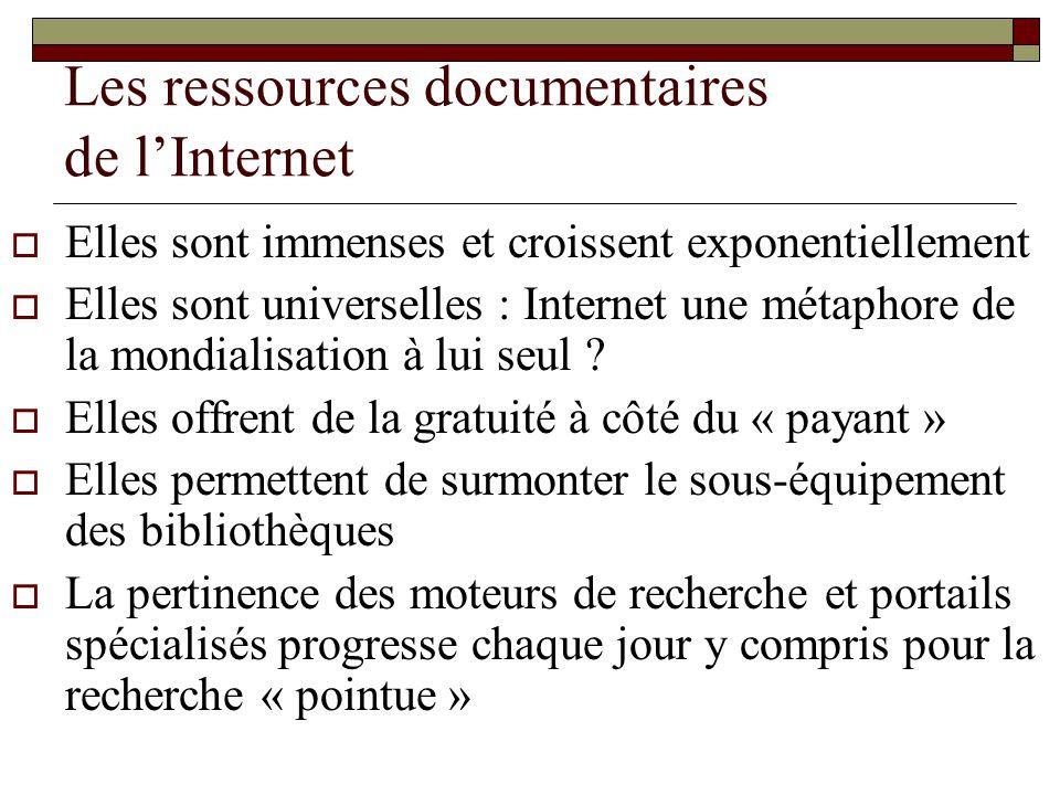 Les ressources documentaires de lInternet Elles sont immenses et croissent exponentiellement Elles sont universelles : Internet une métaphore de la mo