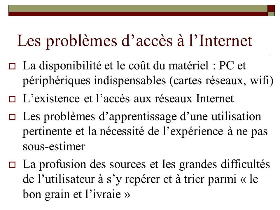 Les problèmes daccès à lInternet La disponibilité et le coût du matériel : PC et périphériques indispensables (cartes réseaux, wifi) Lexistence et lac