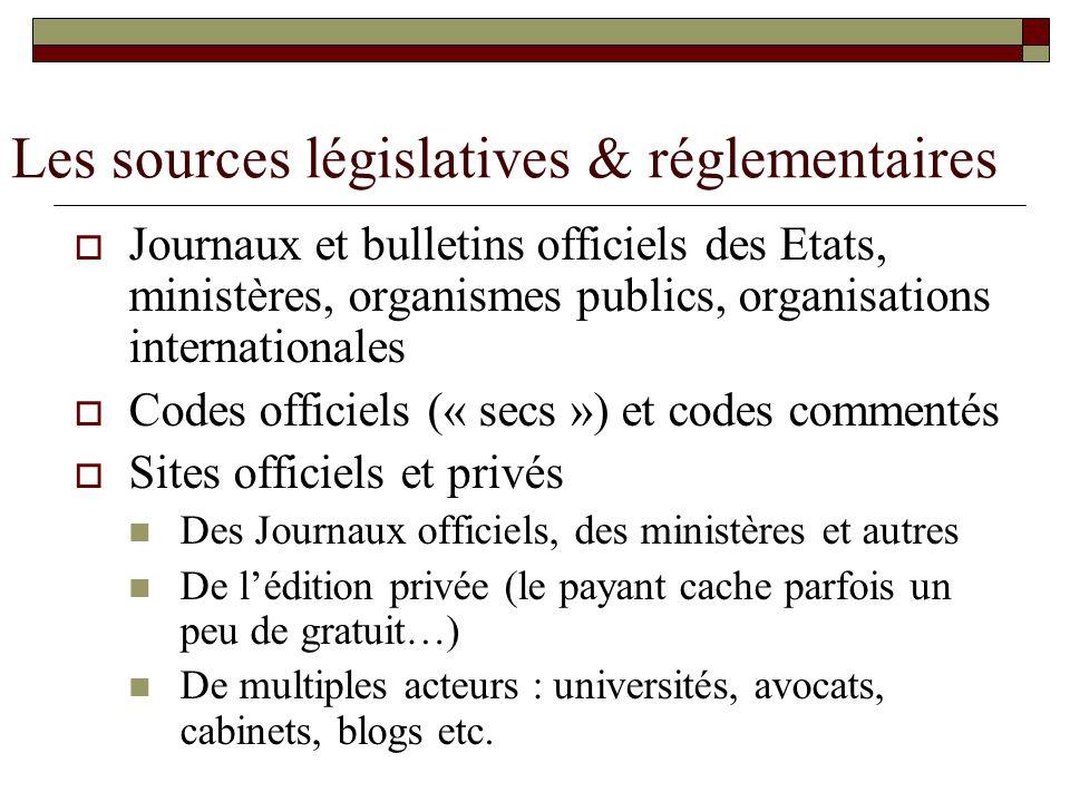 Les sources législatives & réglementaires Journaux et bulletins officiels des Etats, ministères, organismes publics, organisations internationales Cod