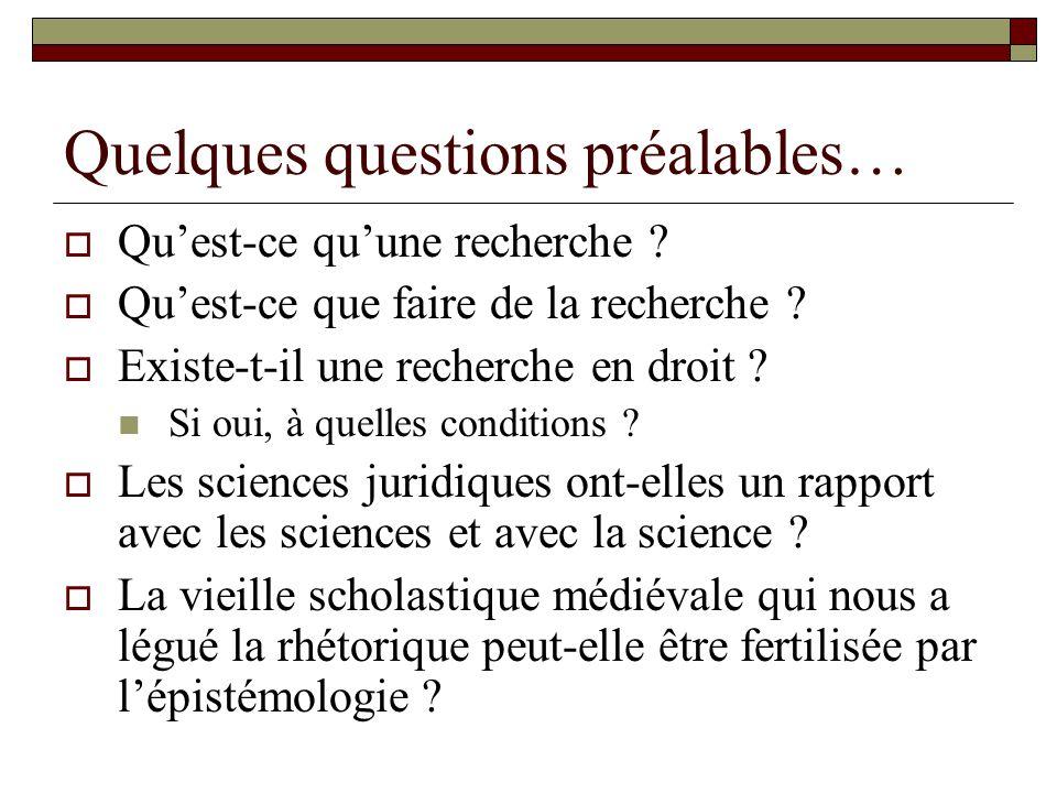 Quelques questions préalables… Quest-ce quune recherche ? Quest-ce que faire de la recherche ? Existe-t-il une recherche en droit ? Si oui, à quelles