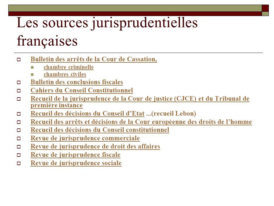 Les sources jurisprudentielles françaises Bulletin des arrêts de la Cour de Cassation, chambre criminelle chambres civiles Bulletin des conclusions fi